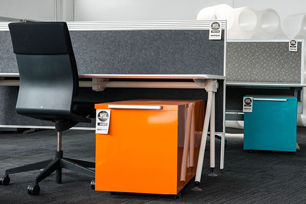 office workstation with chair and mobile pedestal
