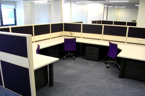 purple office workstations