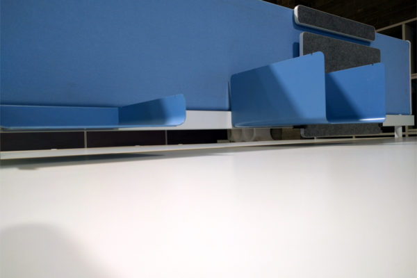 Blue workstation screen with shelving