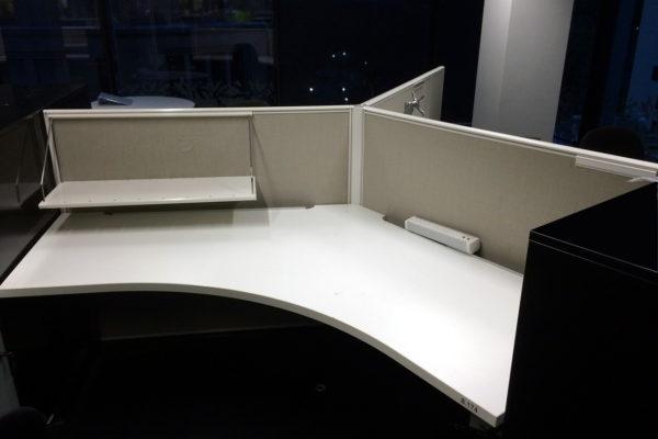 Grey white 120 degree workstation pod
