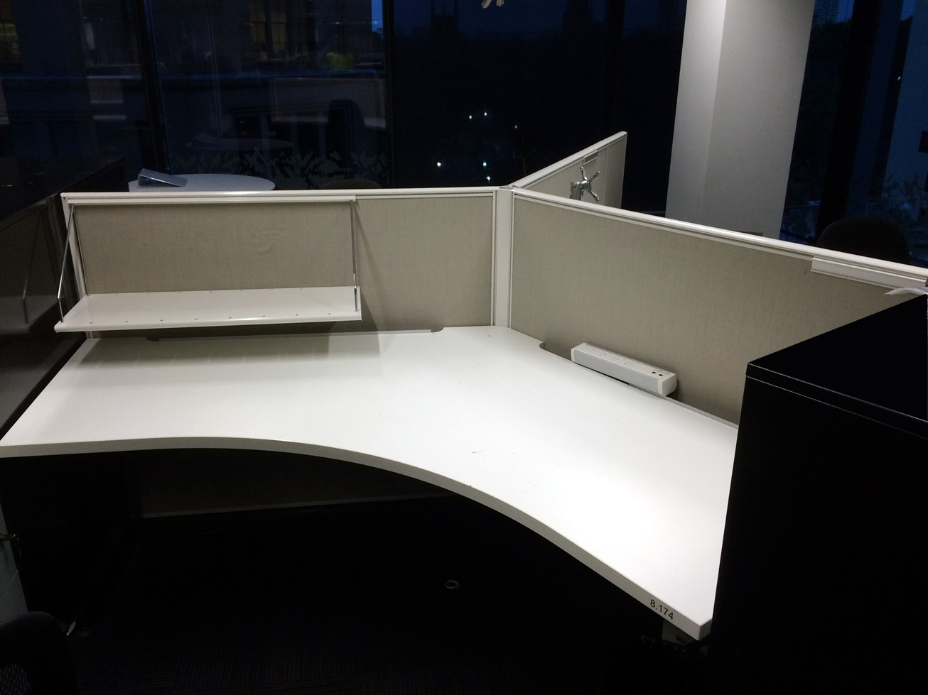 Grey white 120 degree workstation pod