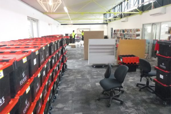 Egans removal crates onsite
