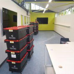 egans crates in hallway