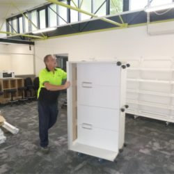 moving a white cupboard