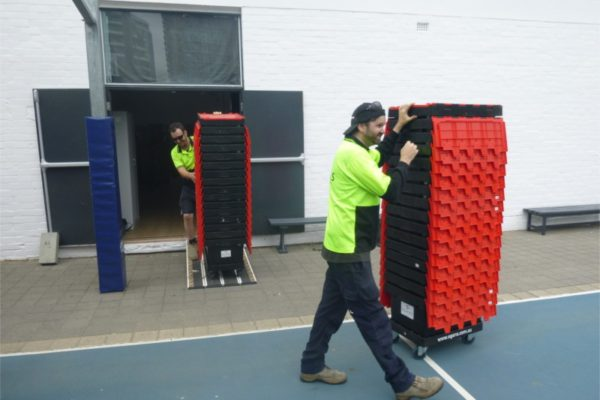 moving egans empty office crates