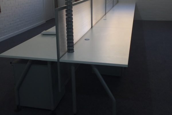 office desk with clip on screen