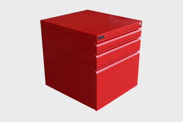 Red 3 drawer mobile pedestal