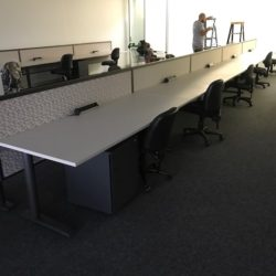 straight row of office workstations