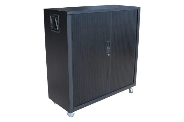 Mobile Black Tambour Cabinet