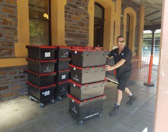 pushing moving crates