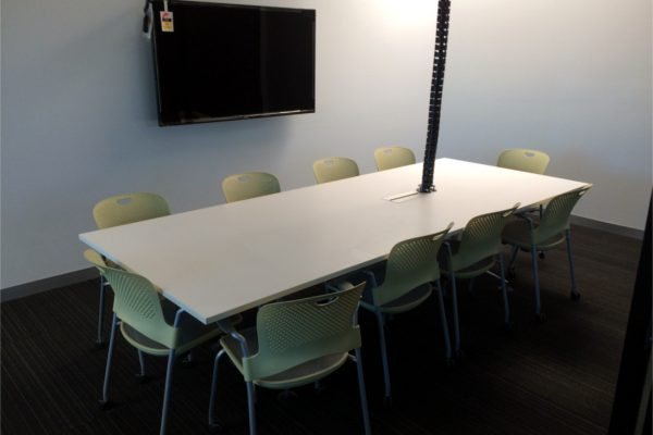 boardroom table, chairs & TV