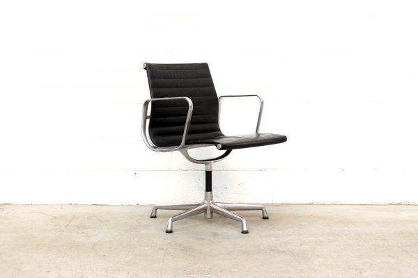 Eames Aluminium Group Management Chair Black Leather1